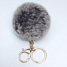 New Chocolate Frosted Fur pom pom keychain fur by YogaStudio55