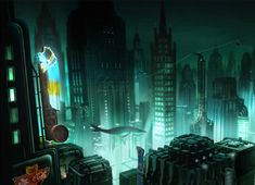 Concept art for the cancelled BioShock movie - Jim Martin Design. 'What a shame, this could have been awesome.'