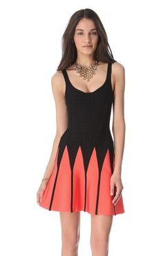 Herve Leger Two-Tone Flared Bandage Dress HDR405 Orange and black