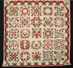 Q8742 Baltimore Album Quilt c.1848 103 x 104 (261.6 x 264.2 cm) Baltimore, MD