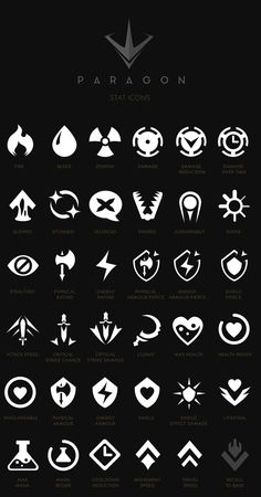 Paragon - iconography, ui & hud on behance Game Ui Design, Icon Design, Web Design, Logo Design, Flat Design, Game Gui, Game Icon, Behance Icon, Tf2 Meme