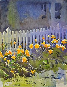 Flowers in The Sun by Spencer Meagher Watercolor ~ 12 x 9