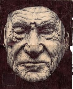 Envelope Drawings - by Mark Powell - London - has chosen backs of old envelopes as a canvas for delicately rendered portraits of the elderly, using a standard Bic Biro pen to create delicate folds & wrinkles Biro Art, Biro Drawing, Ballpoint Pen Art, Pen Drawings, Art And Illustration, Amazing Drawings, Amazing Art, Mark Powell, Realistic Sketch