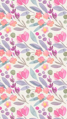 Digital Wallpapers - Girl, Do It : le jardin de flore digital wallpapers watercolor floral pastel colors illustration graphism printtpattern Trendy Wallpaper, Pretty Wallpapers, Flower Wallpaper, Pattern Wallpaper, Floral Wallpapers, Pink Wallpaper, Colorful Wallpaper, Iphone Wallpapers, Watercolor Wallpaper Iphone