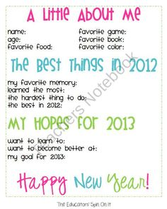 Free Printable for New Year's Resolutions for kids for 2013 created by Kim @The Educators' Spin On It