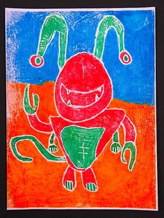 "3rd Grade - ""Complementary Creature Prints""  Printmaking using complementary colors with markers and a water bottle on paper. Click on ""visit"" to view my webpage to learn more, see additional artwork and see lesson plans"