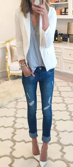 casual style perfection - white blazer + top + ripped jeans + heels