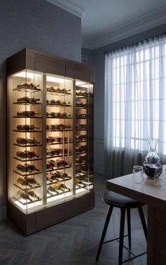 wine cabinet with lighting. smallbone of devizes brasserie classic living contemporary Glass Wine Cellar, Home Wine Cellars, Bespoke Kitchens, Luxury Kitchens, Best Wine Coolers, Bedroom Design Inspiration, Wine Display, Cigar Room, Wine Wall