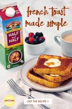 Serve up Classic French Toast with Land O'Lakes Half & Half. Breakfast Dishes, Healthy Breakfast Recipes, Brunch Recipes, Dessert Recipes, Healthy Tips, Healthy Snacks, Dinner Recipes, Baking Recipes, The Best