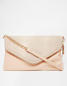 Image 1 ofNew look Zipped Envelope Clutch with Croc Effect