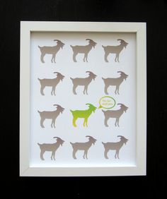 Goat art print  This too shall pass   Animal art by HelloMaupoo, $13.00