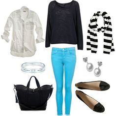 Scarf, Colored skinny's, solid Button up(optional), non-fitted sweater or cut up, flats, Simple jewelry.