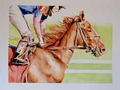 Jockey IV - Watercolour 30 x 40 cm