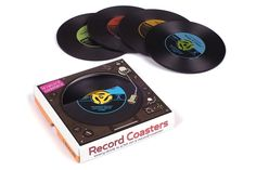 record coasters: show your love of retro music while offering beverages to your guests! (or use under candles on tables)
