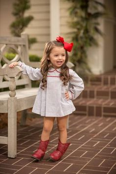 """Presley Kait"" Grey Windowpane with Red Piping Bloomer Set, Girls Fave - Oaks Apparel Fall 2018 Collection - Toddler Fall Outfits Girl, Girls Fall Outfits, Toddler Girl Style, Little Girl Outfits, Little Girl Fashion, Cute Little Girls, Toddler Fashion, Preppy Kids Fashion, Toddler Cowgirl Outfit"