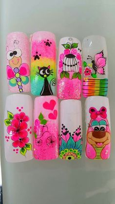 3d Nails, Manicure And Pedicure, Cute Nails, Acrylic Nails, Animal Nail Designs, Nail Art Designs, Kawaii Nail Art, Nails For Kids, Square Nails