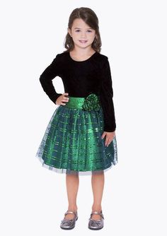 One word - GORGEOUS! ~ Bonnie Jean Black Velvet Green Sparkle Mesh Dress (sz.12m-16) - Color Me Happy Boutique #Christmas