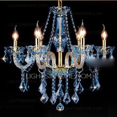 Good Quality 6-Light Blue Chandelier Crystal Hanging Type
