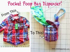 DIY Recycled Pocket from a shirt turned Poop Bag Dispenser. Diy Dog Bag, Doggie Bag, Cat Bag, Poop Bag Holder Diy, Dog Treat Bag, Diy Dog Toys, Diy Dog Treats, Dog Crafts, Dog Items