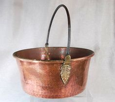 Copper Pot French Style Hammered With Brass Accents by janlewin