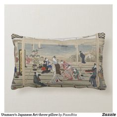Utamaro's Japanese Art throw pillow