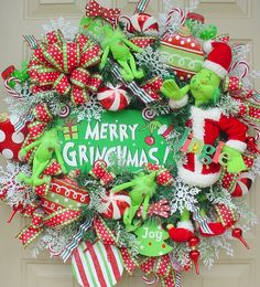 Merry GrinchmasSnowflakesGrinchs Candy Canes by SeasonalWreaths, $149.95