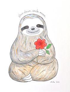 Sloth Painting ORIGINAL Illustration ORIGINAL Zen Art by mikaart