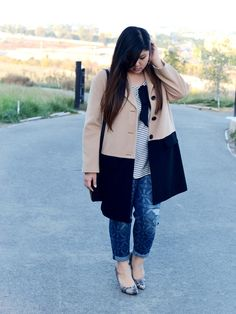 Curvy Girl Chic Plus Size Fashion Blog Outfit Talbot's Camel Coat and Printed Boyfriend Jeans