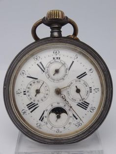 RARE ANTIQUE GOLIATH CALENDER MOONPHASE SWISS POCKET WATCH