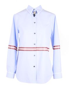 Light-blue shirt loose-fit shirt stripe and rhinestone button detail cotton viscose Light Blue Shirts, Workout Shirts, Shirt Dress, Mens Tops, Cotton, Dresses, Women, Fashion, Vestidos