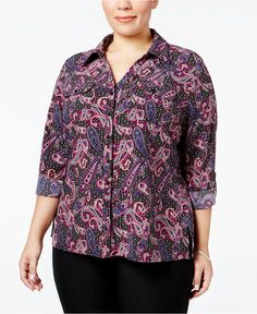 NY Collection 3X Plus Size Paisley-Print Utility Shirt New With Tags #NYCollection #Blouse