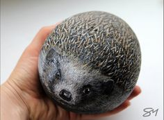 Hedgehog - hand painted rock - small pet -painted full stone