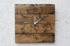 Rustic Wall Clock. Reclaimed wood. Warm Coffee stain.