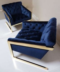 Pair of Brass & Velvet Tufted Lounge Chairs after Milo Baughman image 2
