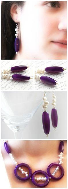 Purple Gemstone Earring. Purple Agate. White Freshwater Pearl Earrings, Exquisite Quality