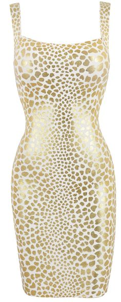 'Caroline' Cream & Metallic Gold Leopard Print Bandage Dress