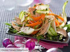 Recette Salade au foie gras, poires et noisettes. Ingrédients (4 personnes) : 300 g de foie gras mi-cuit, 80 g de pousses de salade, 6 asperges vertes... - Découvrez toutes nos idées de repas et recettes sur Cuisine Actuelle