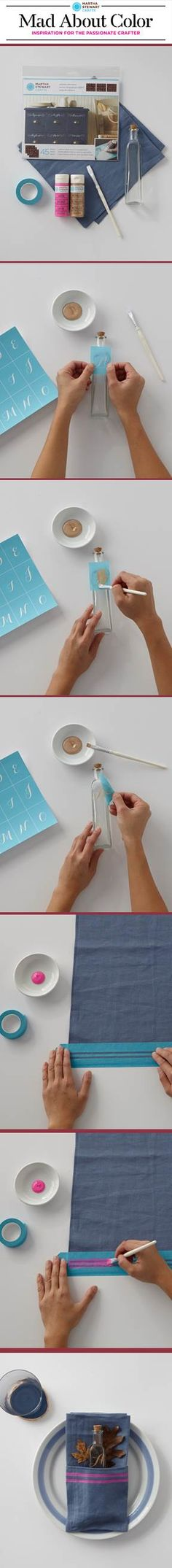 Personalize a place setting with paints from #marthastewartcrafts #madaboutcolor