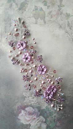 Pink lilac flower blossom wedding hair vine, Bridal pearl flower spray, Romantic wedding, Wedding hairpiece, Bridesmaid hair vine accessory by OdesiaMayJewellery on Etsy