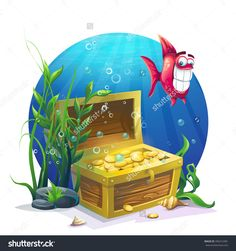Chest Of Gold And Fish In The Sand Underwater - Vector Illustration For Design, Banners, Flyers, Textures, Backgrounds, Postcards - 395412481 : Shutterstock Tiny Fish, Dental Kids, Painted Flower Pots, Cute Polymer Clay, Goldfish, Game Art, Gabriel, Murals, Underwater