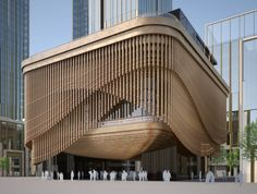 Shanghai Theatre with wood curtain facade.