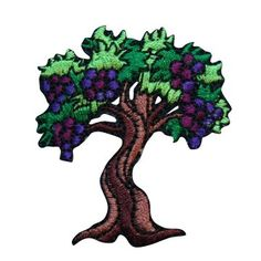 ID #1236X Grape Tree Fruit Food Embroidered Iron On Applique Patch Cool-Patches