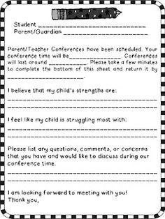 Parent/Teacher Conference freebie!