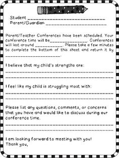 Parent/Teacher Conference freebie!