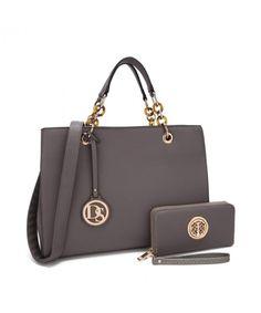 63473ee33574 MKP Vintage Soft Briecase for Women- Designer Satchel w Chain Strap   Free  Wallet Medium Lady Tote - Dark Grey - CL184XTZSSY
