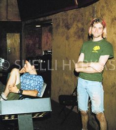 Dave Grohl and Kurt Cobain-  Sound City, Van Nuys, California. 1991 Photograph by Shelli Hyrkas