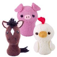 Felted knit amigurumi pattern: chicken, pig, horse