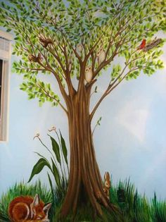 Nursery tree mural with squirrels, owls, cardinal and nest