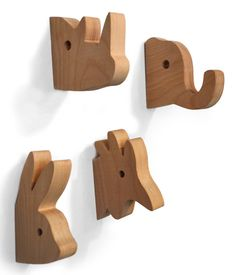 Wooden animal hangers by Julee Vee