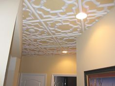 New Tiles For The Drop Ceiling. Loving The Painted Background....hmmm